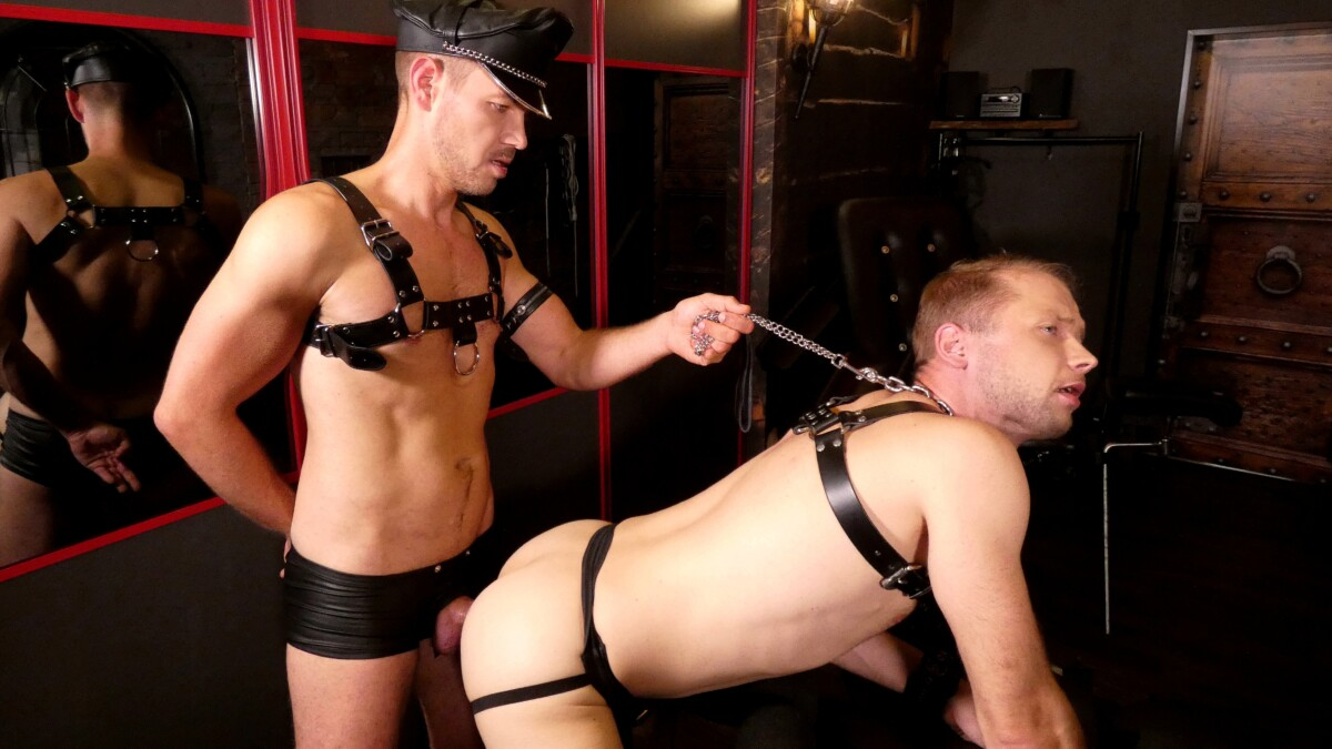 german stud in leather dominates and fucks a slave in leather