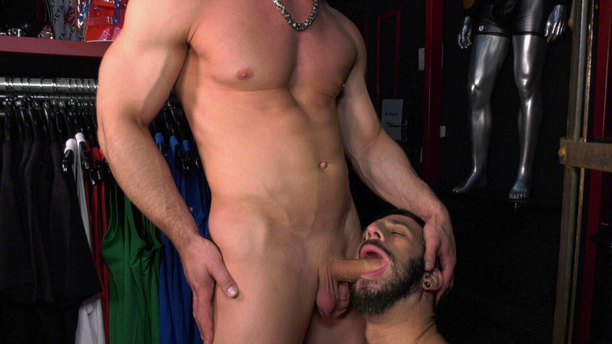 guy with beard has mouth open and sucks big cock