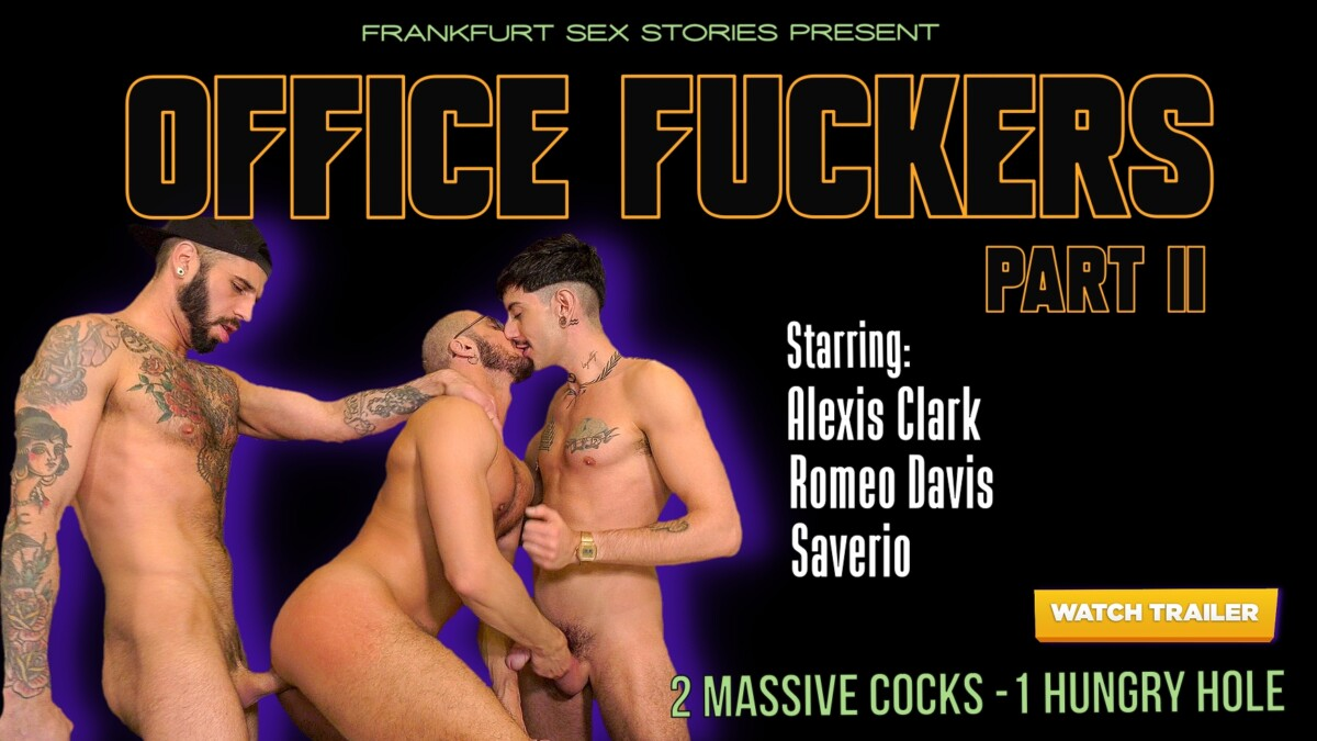 office fuckers gay threesome fun in the office