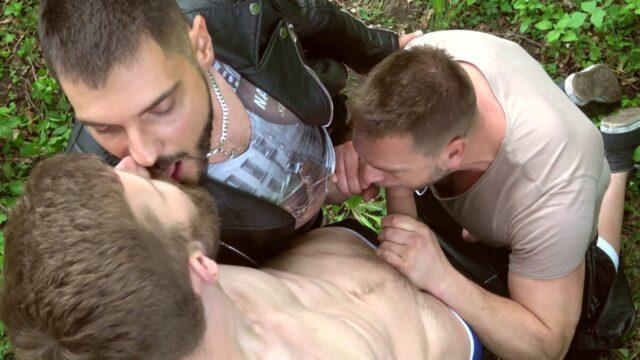 gay outdoor orgy threesome fun