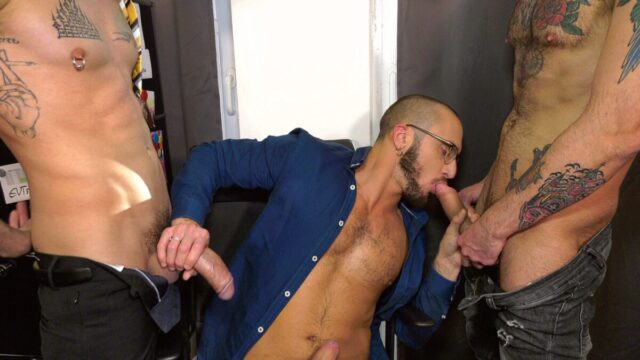 gay threesome fun at the office