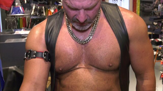 mature leather man with leather vest