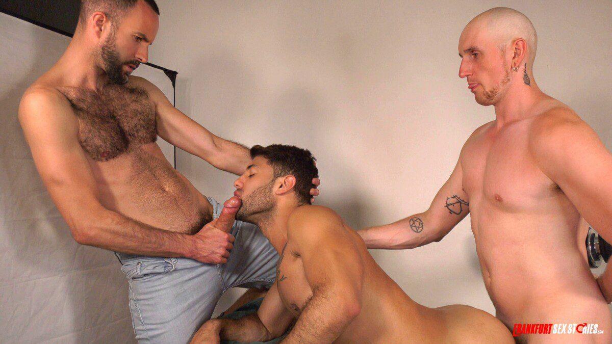 latin muscled guy in threesome fun